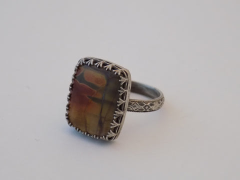 Sterling Silver and Red Creek Jasper Ring - Size 7.5