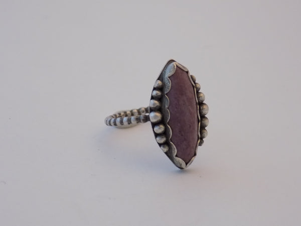 Sterling Silver and Pink Mookaite Jasper Ring - Size 9