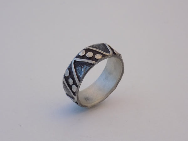 Argentium Silver Wide Band with Triangles and Dots
