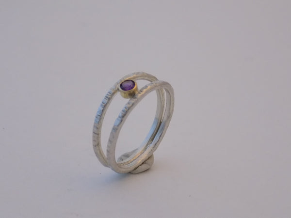 Sterling Silver Split Band Ring with 14K Gold and Gemstone