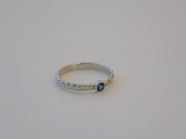 Dainty Sterling Silver Ring with London Blue Topaz - Size 6