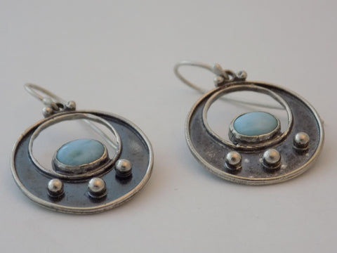 Argentium Circle Earrings with Larimar