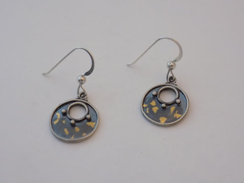 Argentium Silver and Speckled Gold Small Earrings