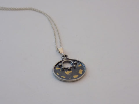 Argentium Silver and Speckled Gold Pendant