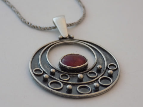 Argentium Silver and Natural Ruby Necklace