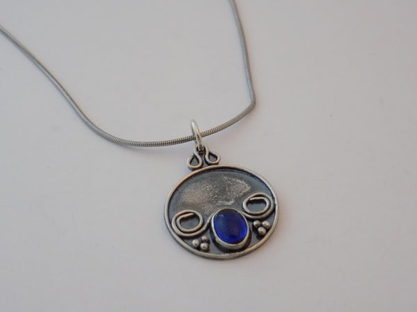 Argentium Silver and Blue Spinel Necklace