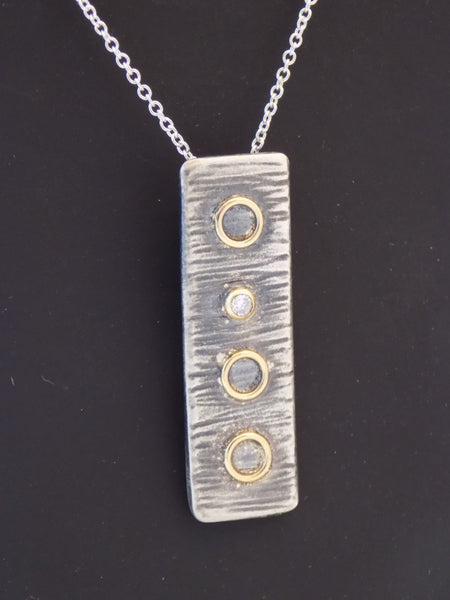 Argentium Silver, 18K Gold and Diamond Necklace