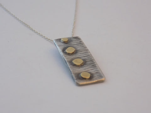 Argentium Silver and 18K Gold Dot Necklace