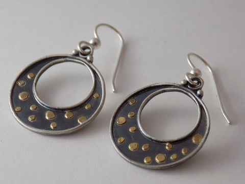 Argentium Silver with 22K Gold Dots Earrings