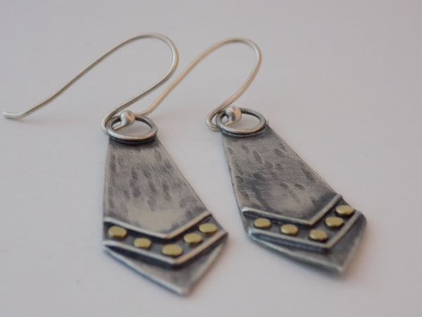 Argentium Silver and 18K Gold Geometric Earrings