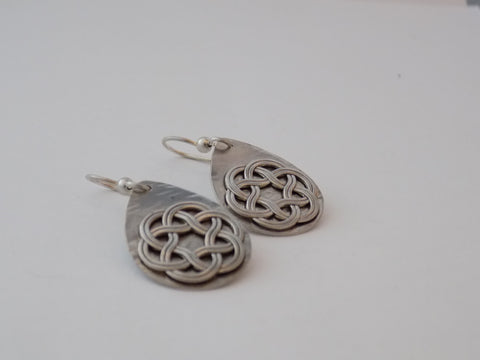 Sterling Silver Celtic Knot Teardrop Earrings
