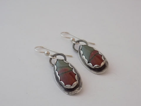 Red Creek Jasper and Sterling Silver Earrings