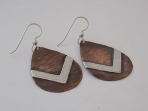 Copper Teardrop and Sterling Silver Chevron earrings
