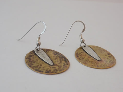 Antiqued Brass Circles with Sterling Silver Earrings