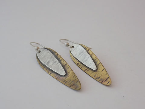 Elongated Brass and Sterling Silver Teardrop Earrings
