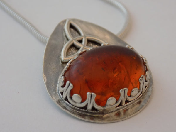 Sterling Silver Celtic Triquetra and Amber Necklace