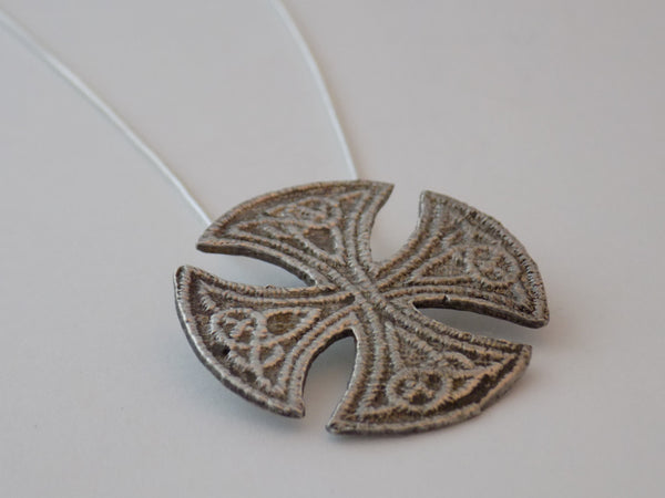 "Sterling Silver ""Embroidered"" Celtic Cross"