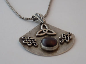 Celtic Knots and Triquetra Pendant with Garnet