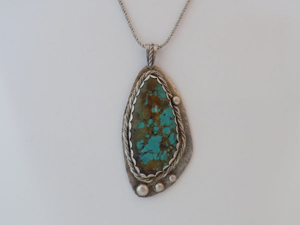 Sterling Silver and Stabilized Turquoise Pendant
