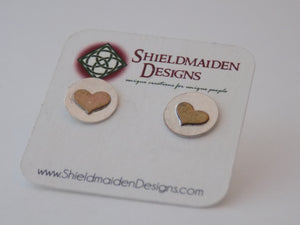 Sterling Silver and Antiqued Brass Hearts Stud Earrings