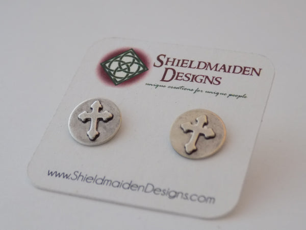 Sterling Silver and Cross Stud Earrings