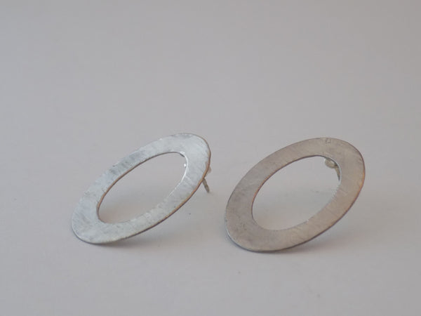 Hammered Sterling Silver Oval Post Earrings
