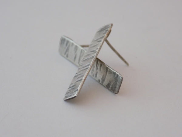 Hammered Sterling Silver Rectangle Post Earrings