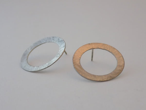 Hammered Sterling Silver Open Circle Post Earrings