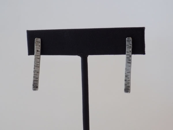 Hammered Sterling Silver Thin Rectangle Post Earrings