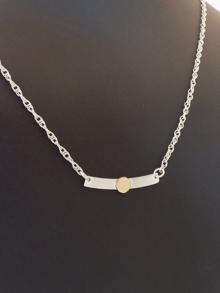 Minimalist Silver and Gold Curved Bar Necklace