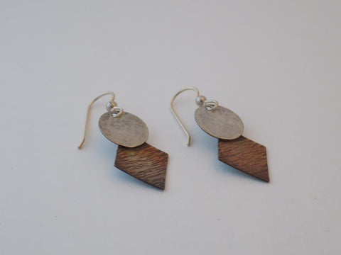 Sterling Silver and Copper Diamonds Dangle Earrings