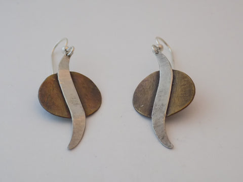 Copper and Sterling Silver Wave Earrings