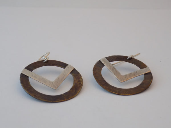 Large Antiqued Brass and Sterling Open Circle Earrings