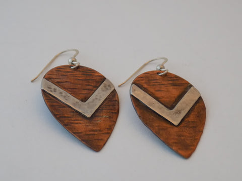 Copper and Sterling Silver Teardrop Earrings
