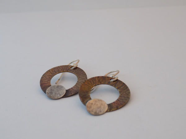 Copper and Sterling Silver Circle Dangle Earrings