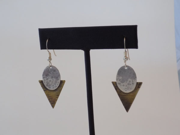 Sterling Silver Oval and Brass Triangle Earrings