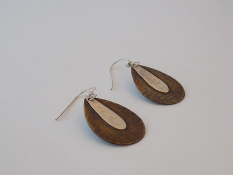 Brass and Sterling Silver Teardrop Earrings