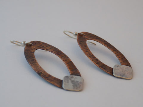 Large Copper Ovals with Sterling Silver Earrings