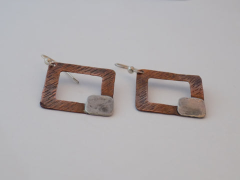 Copper and Sterling Silver Open Square Earrings