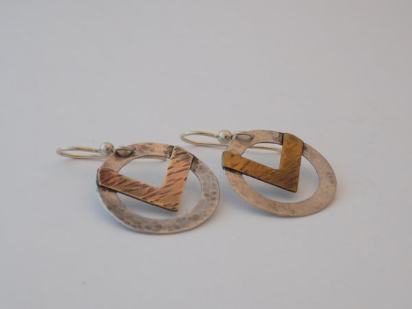 Sterling Silver Circle and Brass Chevron Earrings