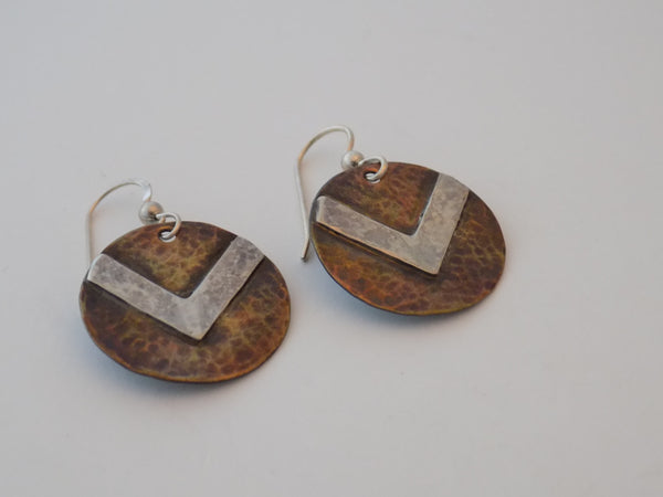 Antiqued Brass and Sterling Silver Chevron Earrings