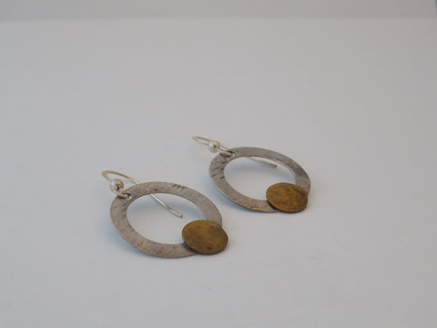 Sterling Silver Circles with Brass Earrings