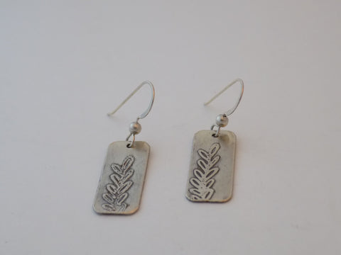 Sterling Silver Etched Leaves Earrings