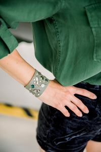 Army Green Swarovski crystal cuff