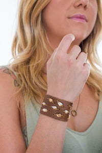 Brown Diamond Leaf Swarovski cuff