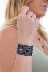 Charcoal Diamond Leaf Swarovski cuff