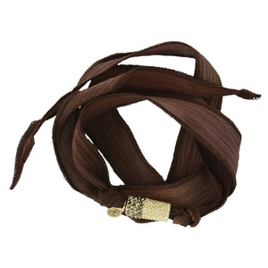 Brown Swarovski silk wrap, hand dyed