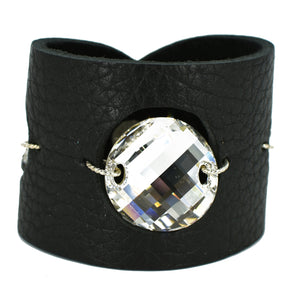 Black Swarovski leather cuff