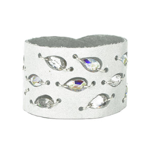 White Diamond Leaf Swarovski cuff