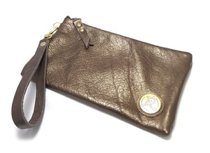 Metallic Bronze wristlet handbag
